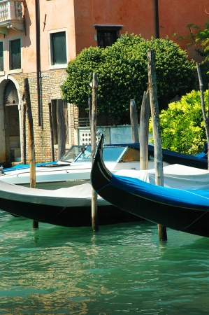 clock of the moors: Gondola on the Grand Canal in Venice Italy