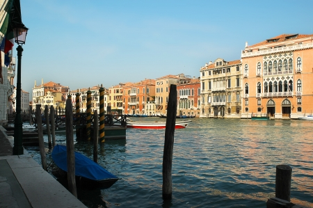 clock of the moors: Buildings on the Grand Canal in Venice Italy