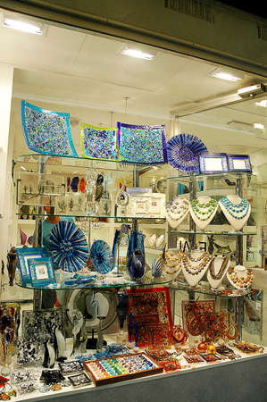 clock of the moors: Murano Glass Shop a speciality of Venice Italy Editorial