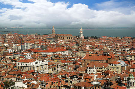 gondoliers: View over Venice from the top of St Marks Campanile Italy