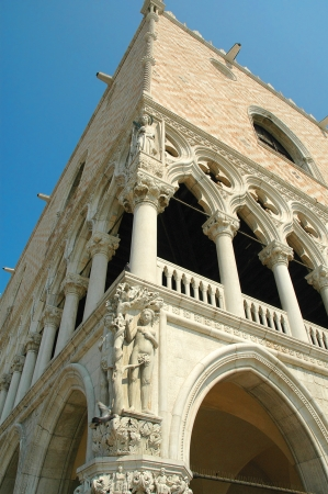 doges: detail of carving on the Doges Palace in Venice Italy