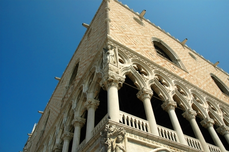 detail of carving on the Doges Palace in Venice Italy