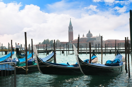 Gondolas on the Grand Canal in Venice Italy photo