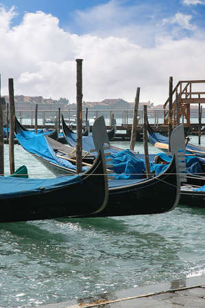 gondoliers: Gondolas on the Grand Canal in Venice Italy