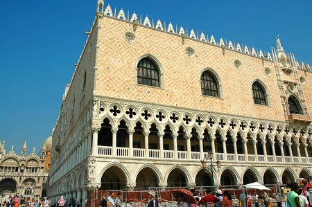doges  palace: Doges Palace with restoration work to the quay Venice Italy Editorial