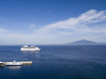 View of the Volcano Mount Vesuvius and the Bay of Naples in Southern Italy photo