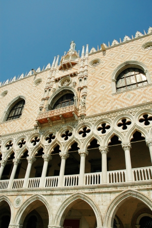 doges  palace: detail of carving on the Doges Palace in Venice Italy