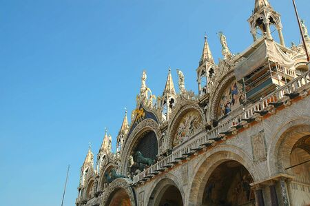 gondoliers: Facade of the Cathedral of St Marks in Venice Italy