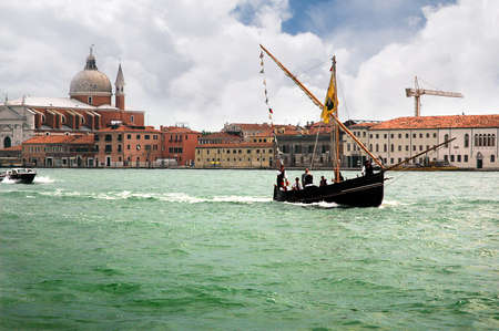 Sailing ship with Lateen Sail in the Gesuiti Area of Venice Italy Stock Photo - 18559764