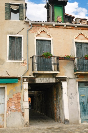 passageways: One of the small passageways of the secret side of Venice Italy