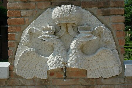double headed eagle: Double Headed Eagle Tap in the Garden of the Ca Rezzonica in Venice Italy