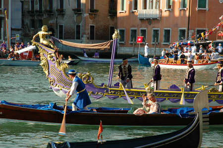 clock of the moors: The Annual Regatta along the Grand Canal in Venice Italy Editorial