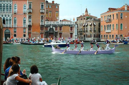 The Annual Regatta along the Grand Canal in Venice Italy Stock Photo - 18604683