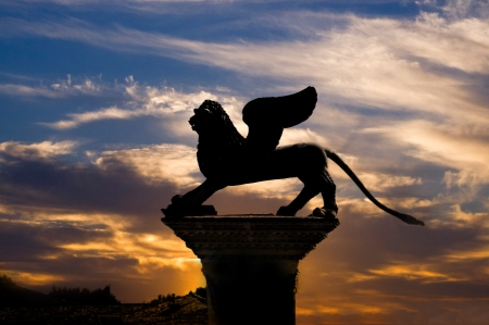 Lion of St Mark on Column in Venice Italy Stock Photo - 18681937