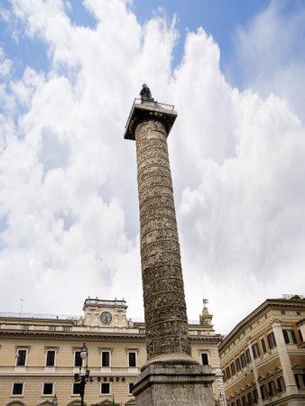 The column of Marcus Aurelius in Rome Italy