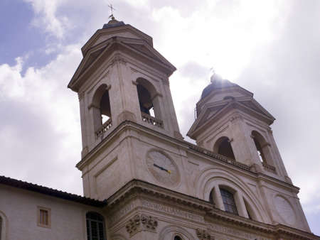 spanish steps: The Trinite Monte Church at the top of the Spanish Steps Rome Italy