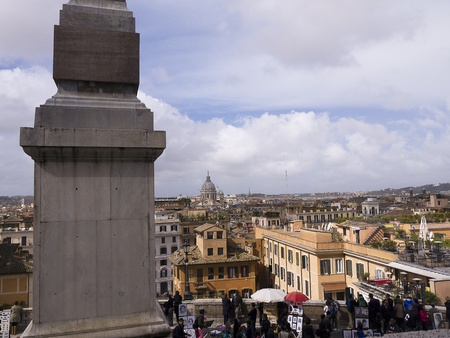 monti: View over Rome from the Trinite Monte Church at the top of the Spanish Steps Rome Italy Editorial