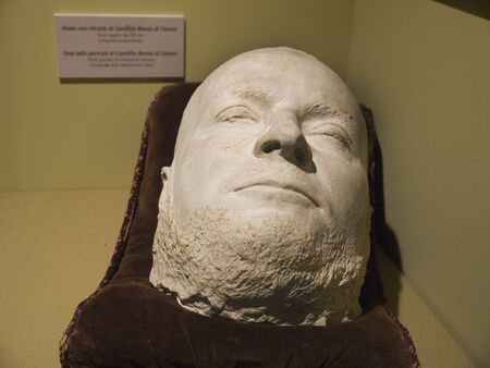 Death mask of Cavour One of the leaders of the Risorgimento In Rome Italy