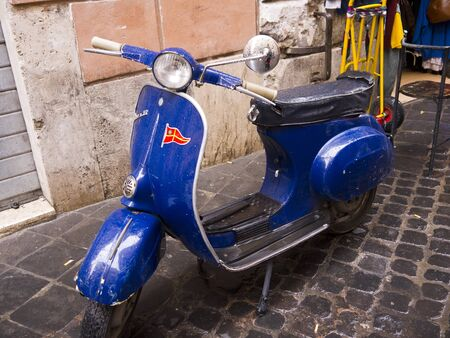 Old Scooter in Backstreet in Rome Italy