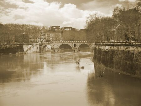 unusually: Unusually high River Tiber in Rome Italy