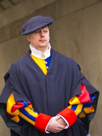 Swiss Guard at the Vatican in Rome Italy