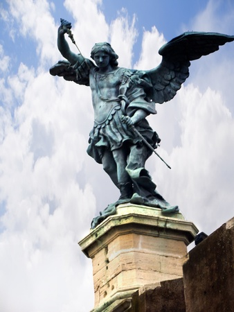 bernini: Statue of St Michael on top of the Castel Sant Angelo in Rome Italy Stock Photo