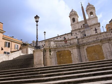 spanish steps: The Trinite di Monte Church at the top of the Spanish Steps Rome Italy