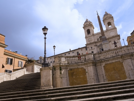spanish steps: The Trinite de Monte Church at the top of the Spanish Steps Rome Italy Editorial