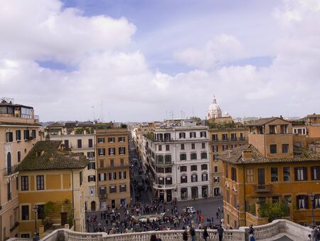 spanish steps: View from the Trinite de Monte Church at the top of the Spanish Steps Rome Italy