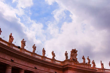 st  peter's square: Statues on Colonnade in St Peters Square in Rome Italy Editorial