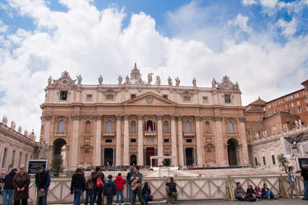 St Peters facade in Rome Italy awaiting the Popes Easter message