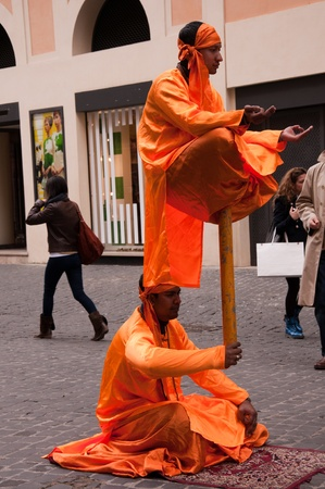 bernini: Indian Fakirs as buskers in Rome Italy