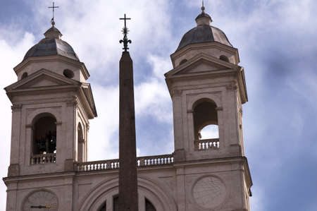 spanish steps: The Trinita dei Monte Church at the top of the Spanish Steps Rome Italy Stock Photo