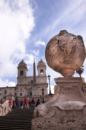 spanish steps: The Trinita dei Monte Church at the top of the Spanish Steps Rome Italy Editorial