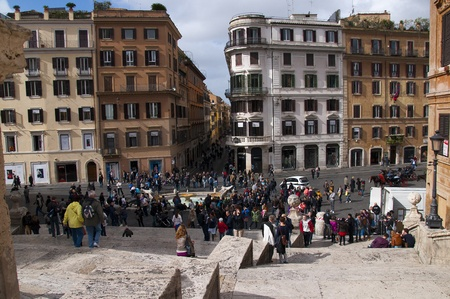 spanish steps: Boat Fountain at foot of the Spanish Steps in Rome Italy
