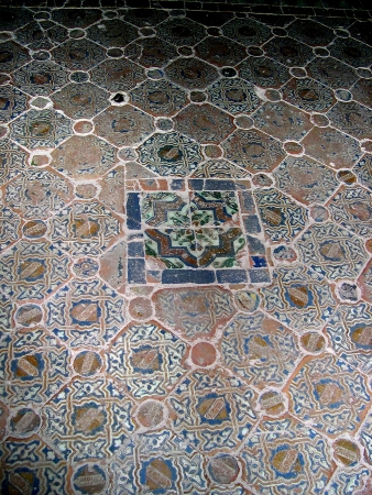 falla: Tiled floor in the Alhambra Palace in Granada Spain