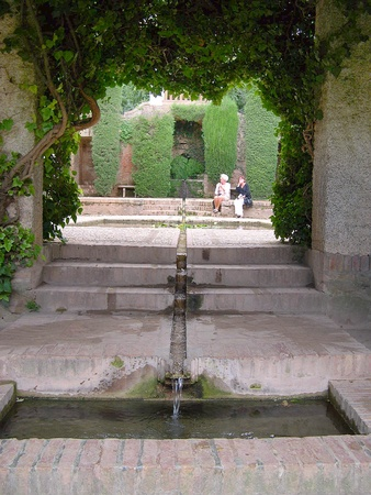 falla: Pool in the Gardens of the Alhambra Palace in Granada Spain           Editorial