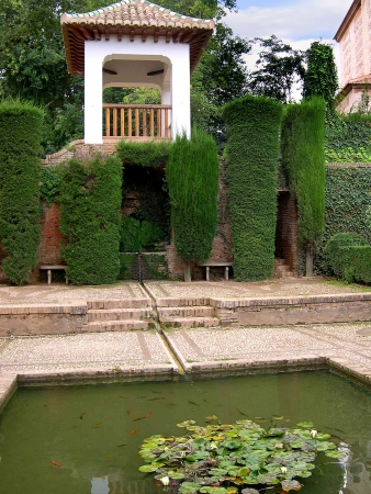 falla: Pool in the Gardens of the Alhambra Palace in Granada Spain