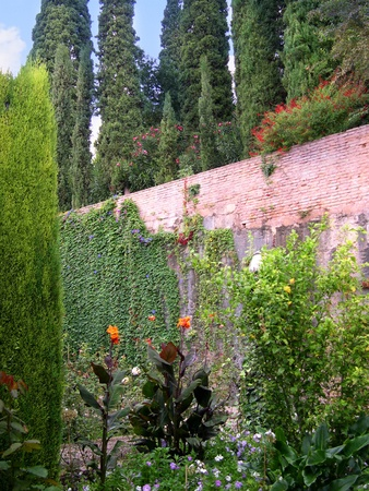 falla: Gardens of the Generalife, the summer palace in the Alhambra Spain Editorial
