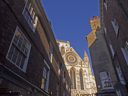 York MInster and Buildings in the Shambles Area of York England