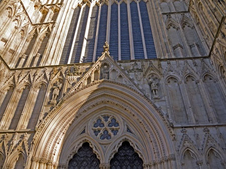 Carving on the facade of York Minster in the city of York