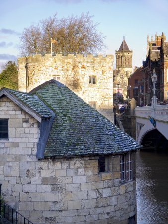 ouse: Tower on Bridge over the River Ouse in York England