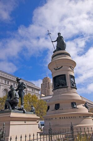 City Hall and Statue to the 49s of the goldrush in San Francisco USA