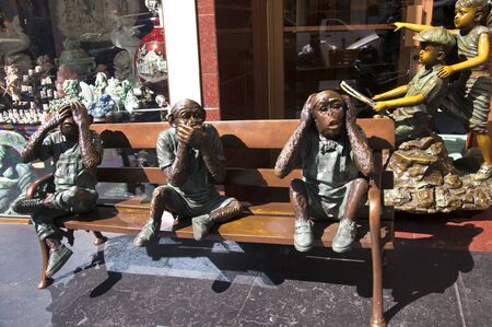 goldrush: Bronze Statue of 3 wise Monkeys in China Town in San Francisco California USA