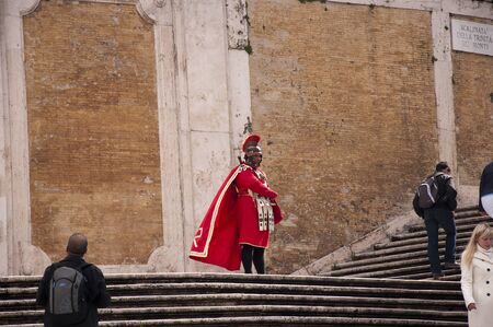 spanish steps: Roman Centurian on the Spanish Steps in Rome Italy Editorial