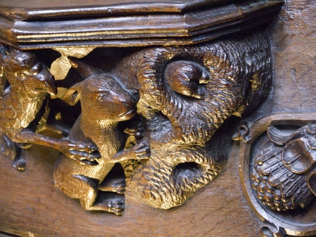 brenda kean: Woodcarving in Ripon Cathedral in Yorkshire England of a rabbit gooing down a hole said to have inspired Alice in Wonderland