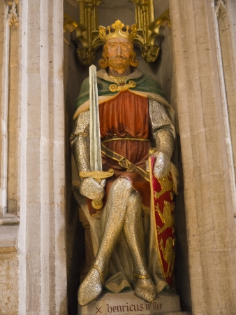 reredos: The English King Henry 11 on Reredos of Ripon Cathedral in Yorkshire England