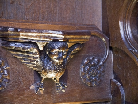 tallado en madera: Woodcarving en la catedral de Ripon en Yorkshire Inglaterra
