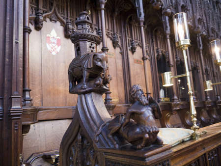 lewis carroll: Woodcarving in Ripon Cathedral in Yorkshire England