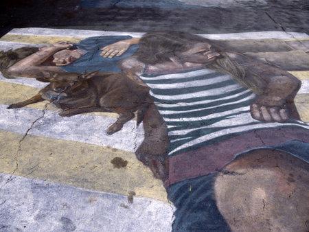 Pavement Art at the Spanish Mission at Santa Barbara California USA
